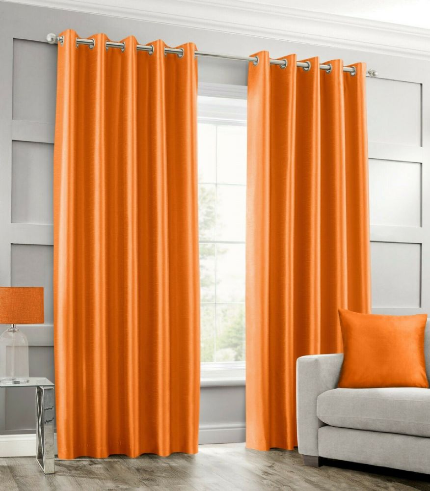 Stylish Ring Top Eyelet Lined Curtains Plain Faux Silk